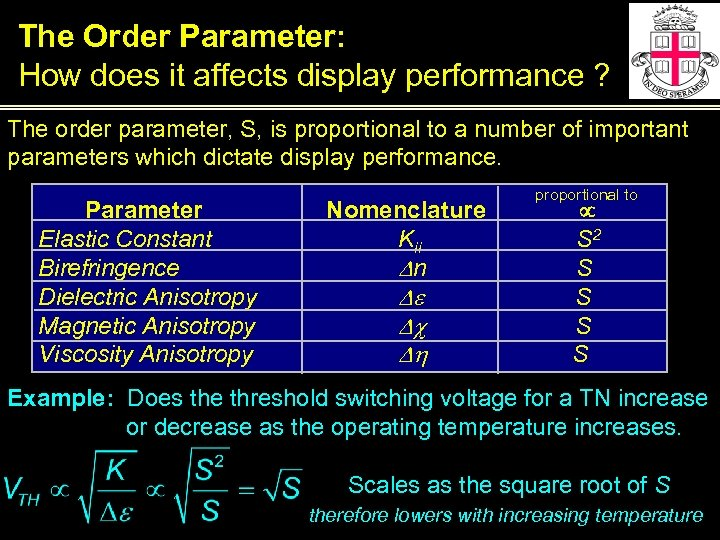 The Order Parameter: How does it affects display performance ? The order parameter, S,