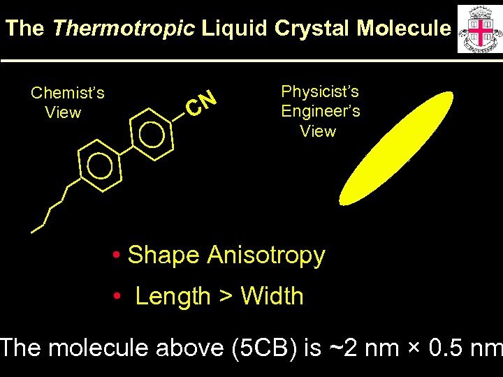 The Thermotropic Liquid Crystal Molecule Chemist's View CN Physicist's Engineer's View • Shape Anisotropy