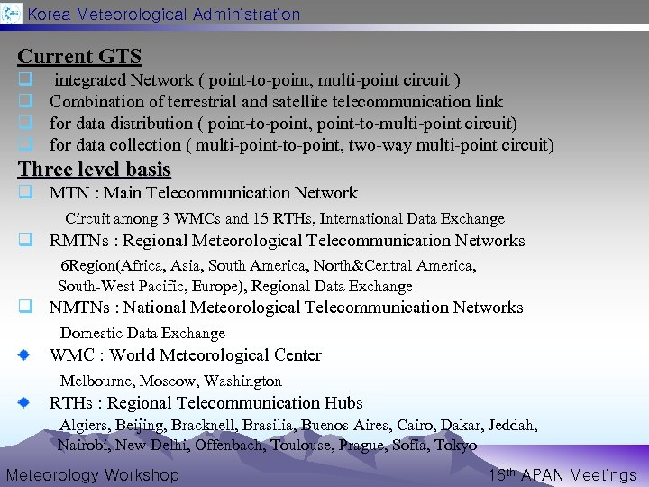 Korea Meteorological Administration Current GTS q q integrated Network ( point-to-point, multi-point circuit )