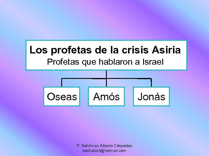 Los profetas de la crisis Asiria Profetas que hablaron a Israel Oseas Amós P.
