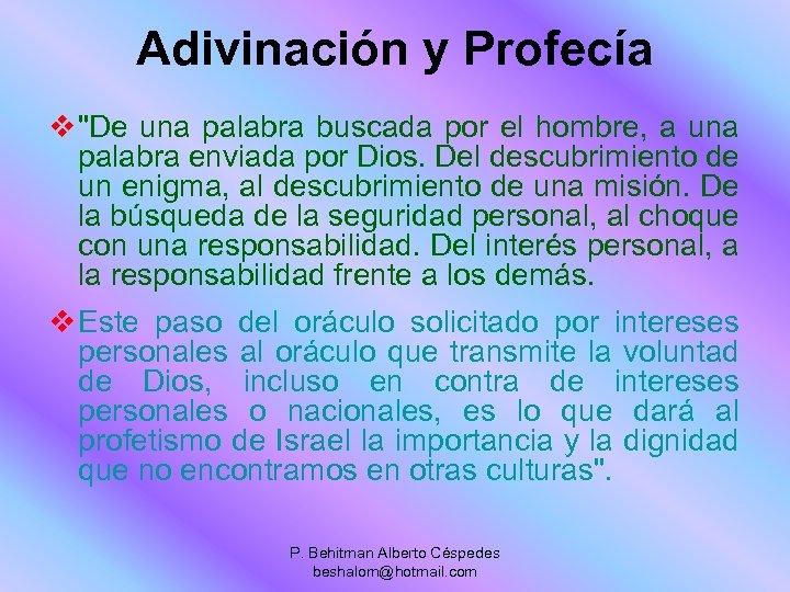 Adivinación y Profecía v