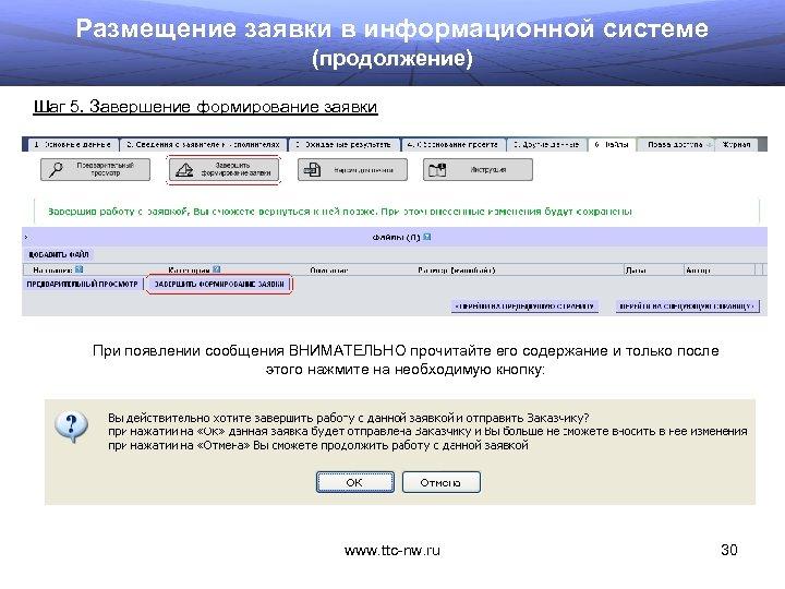 Размещение заявки в информационной системе (продолжение) Шаг 5. Завершение формирование заявки При появлении сообщения