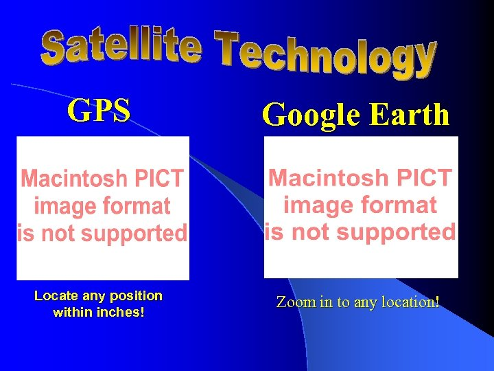 GPS Google Earth Locate any position within inches! Zoom in to any location!