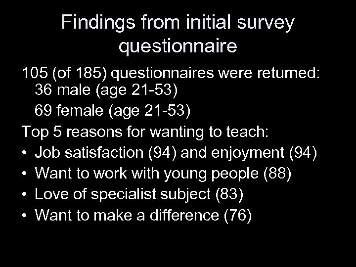 Findings from initial survey questionnaire 105 (of 185) questionnaires were returned: 36 male (age
