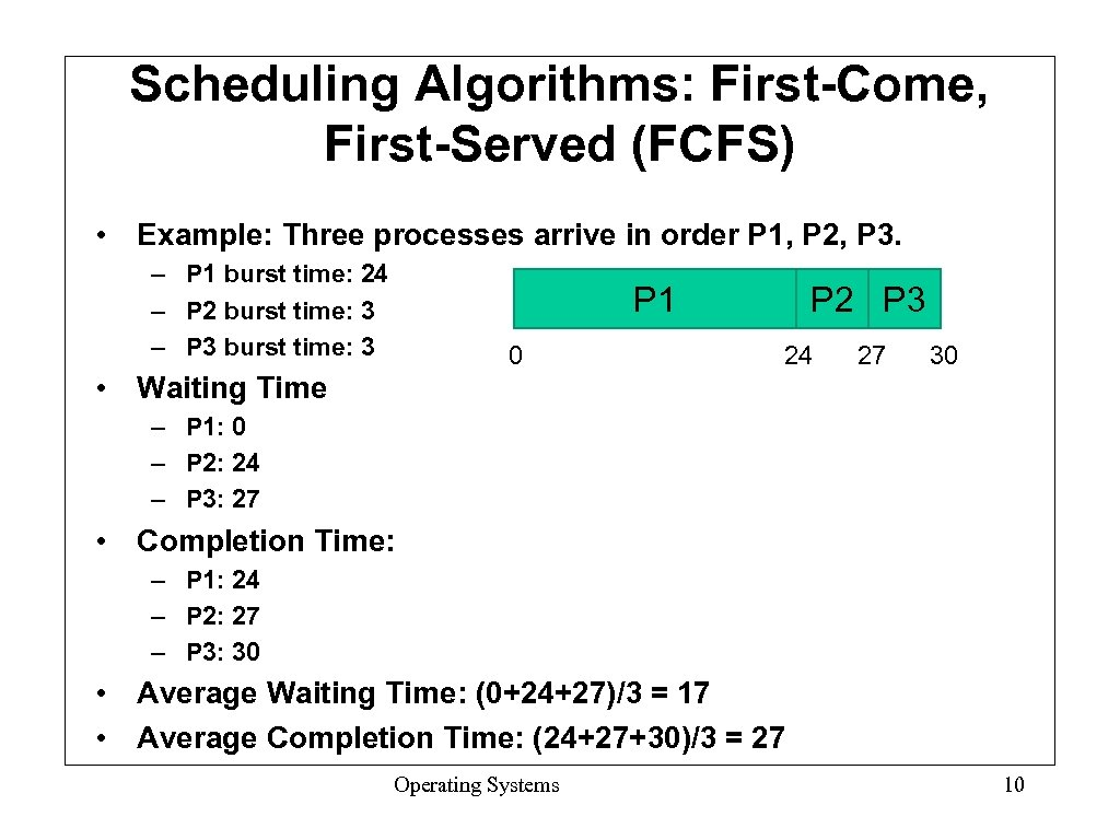 Scheduling Algorithms: First-Come, First-Served (FCFS) • Example: Three processes arrive in order P 1,