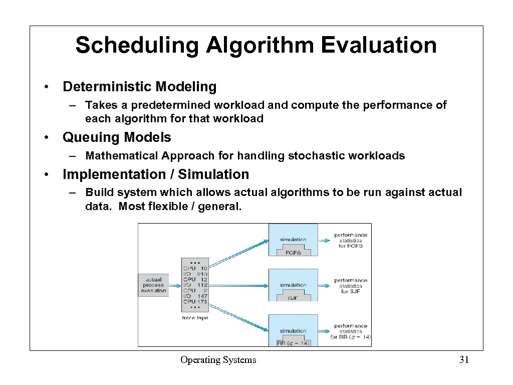 Scheduling Algorithm Evaluation • Deterministic Modeling – Takes a predetermined workload and compute the