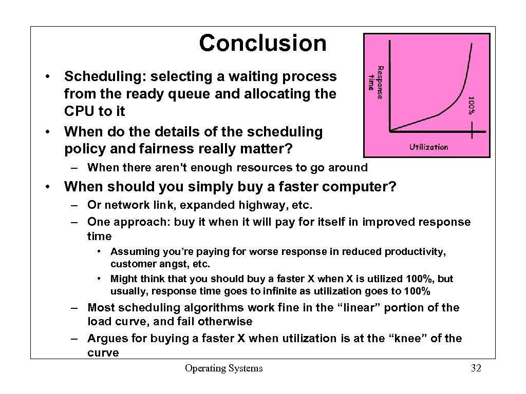 Conclusion • Scheduling: selecting a waiting process from the ready queue and allocating the