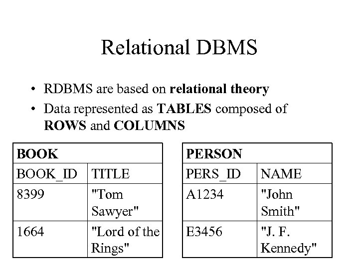 Relational DBMS • RDBMS are based on relational theory • Data represented as TABLES