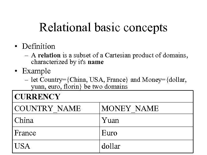 Relational basic concepts • Definition – A relation is a subset of a Cartesian