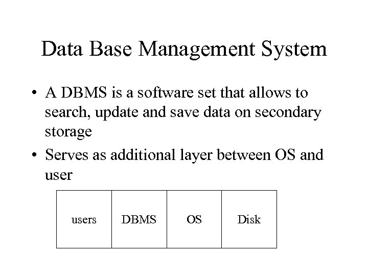 Data Base Management System • A DBMS is a software set that allows to