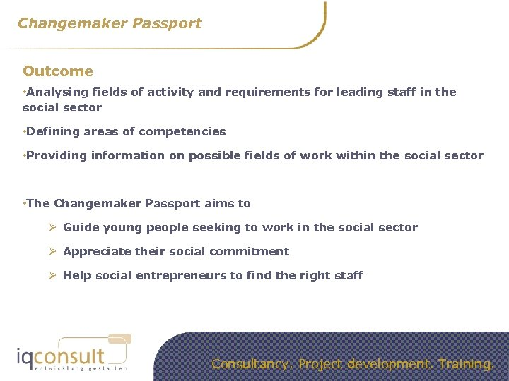 Changemaker Passport Outcome • Analysing fields of activity and requirements for leading staff in