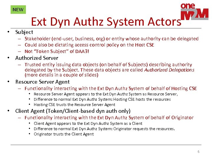 NEW Ext Dyn Authz System Actors • Subject – Stakeholder (end-user, business, org) or