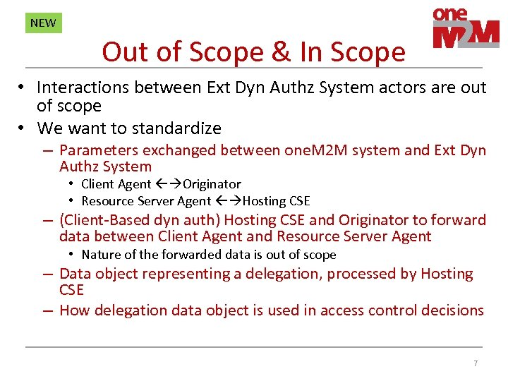 NEW Out of Scope & In Scope • Interactions between Ext Dyn Authz System
