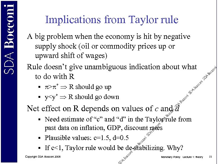 Implications from Taylor rule A big problem when the economy is hit by negative