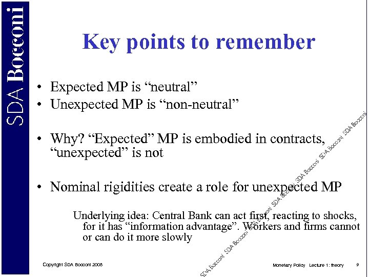 """Key points to remember • Expected MP is """"neutral"""" • Unexpected MP is """"non-neutral"""""""