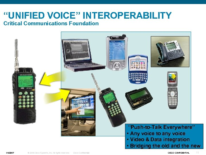 """UNIFIED VOICE"" INTEROPERABILITY Critical Communications Foundation ""Push-to-Talk Everywhere"" • Any voice to any voice"
