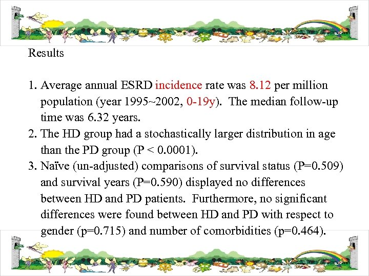Results 1. Average annual ESRD incidence rate was 8. 12 per million population (year