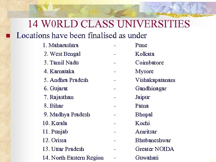 14 W 0 RLD CLASS UNIVERSITIES n Locations have been finalised as under 1.