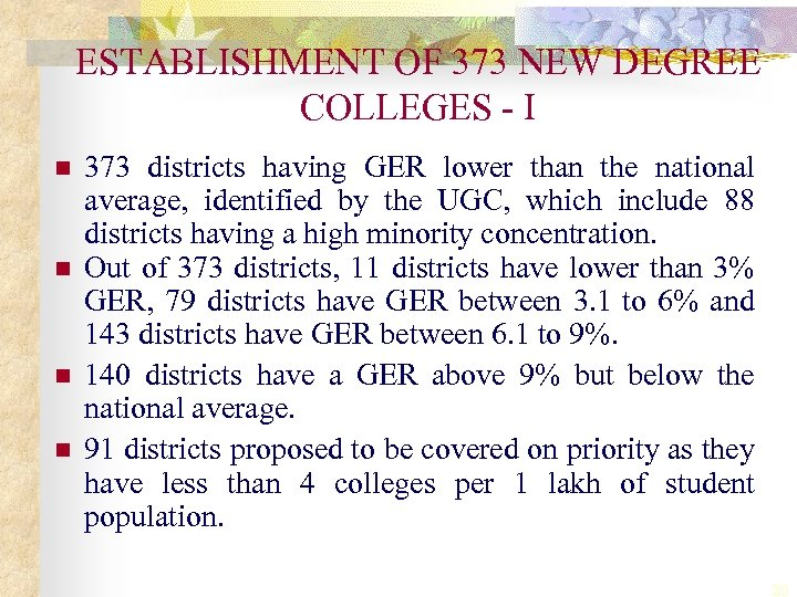 ESTABLISHMENT OF 373 NEW DEGREE COLLEGES - I n n 373 districts having GER