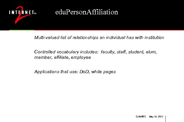 edu. Person. Affiliation Multi-valued list of relationships an individual has with institution Controlled vocabulary