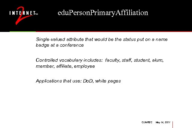 edu. Person. Primary. Affiliation Single-valued attribute that would be the status put on a