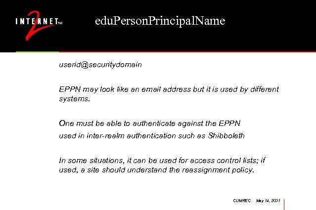 edu. Person. Principal. Name userid@securitydomain EPPN may look like an email address but it
