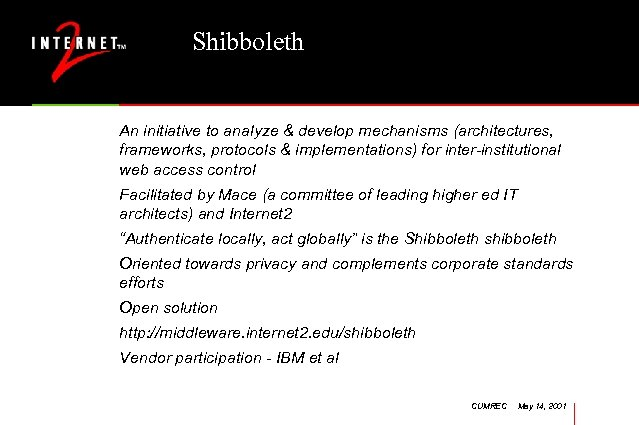 Shibboleth An initiative to analyze & develop mechanisms (architectures, frameworks, protocols & implementations) for
