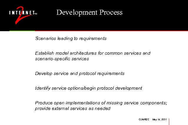 Development Process Scenarios leading to requirements Establish model architectures for common services and scenario-specific