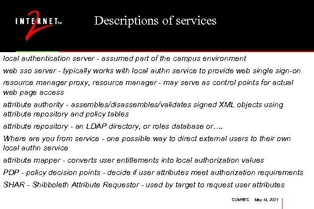 Descriptions of services local authentication server - assumed part of the campus environment web