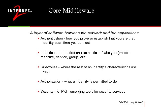 Core Middleware A layer of software between the network and the applications • Authentication