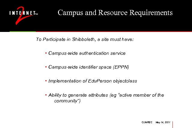 Campus and Resource Requirements To Participate in Shibboleth, a site must have: • Campus-wide