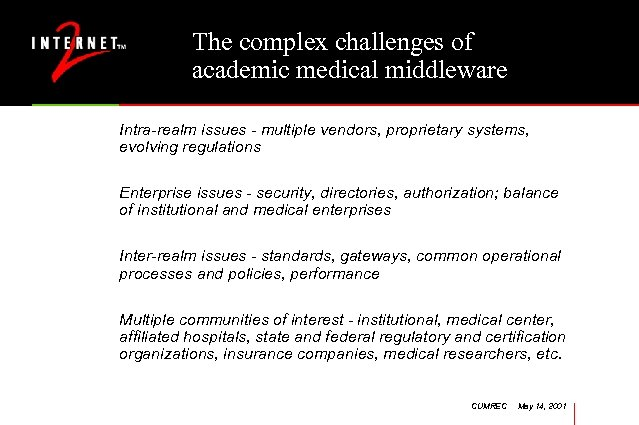 The complex challenges of academic medical middleware Intra-realm issues - multiple vendors, proprietary systems,