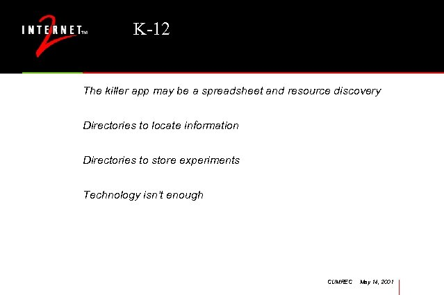 K-12 The killer app may be a spreadsheet and resource discovery Directories to locate