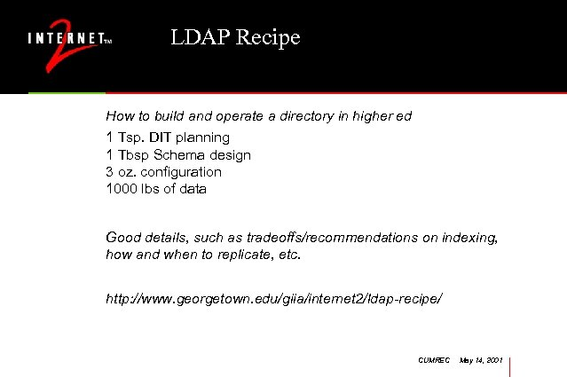 LDAP Recipe How to build and operate a directory in higher ed 1 Tsp.