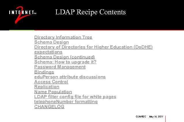 LDAP Recipe Contents Directory Information Tree Schema Design Directory of Directories for Higher Education