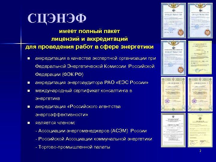 СЦЭНЭФ имеет полный пакет лицензий и аккредитаций для проведения работ в сфере энергетики n