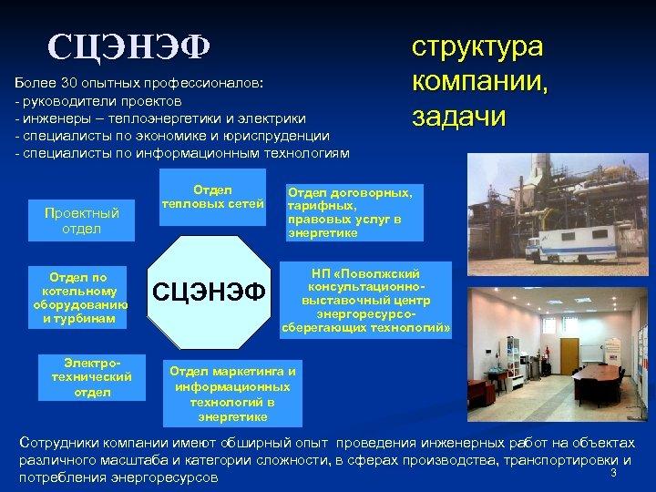 СЦЭНЭФ Более 30 опытных профессионалов: - руководители проектов - инженеры – теплоэнергетики и электрики