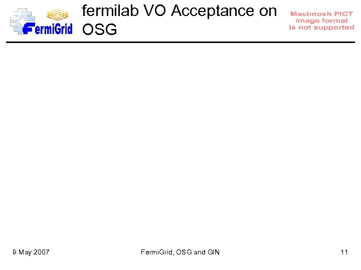 fermilab VO Acceptance on OSG 9 May 2007 Fermi. Grid, OSG and GIN 11