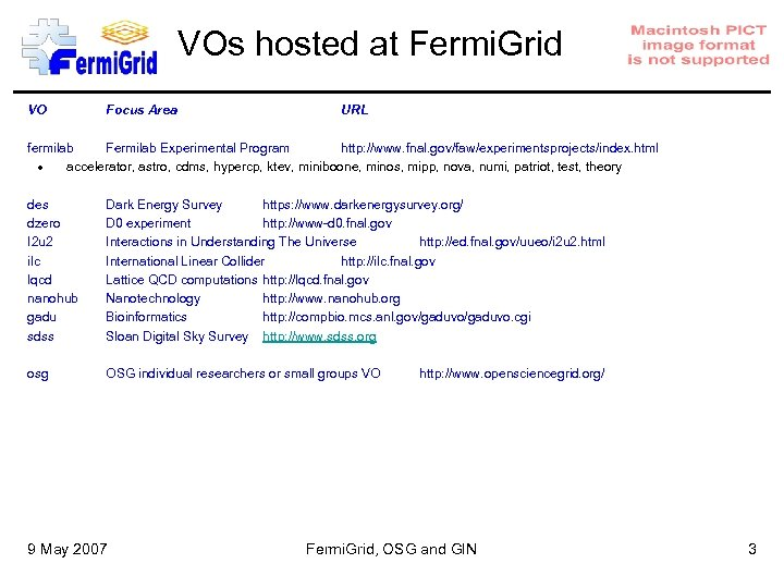 VOs hosted at Fermi. Grid VO Focus Area URL fermilab Fermilab Experimental Program http:
