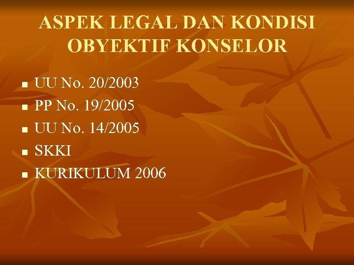 ASPEK LEGAL DAN KONDISI OBYEKTIF KONSELOR n n n UU No. 20/2003 PP No.