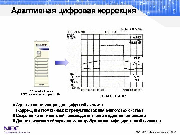 Адаптивная цифровая коррекция КОРР ОТК КОРР ВКЛ NEC Versatile II серия 2. 5 КВт