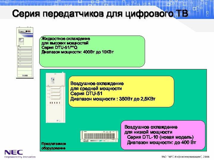 Серия передатчиков для цифрового ТВ Жидкостное охлаждение для высоких мощностей Серия DTU-51/**Q Диапазон мощности: