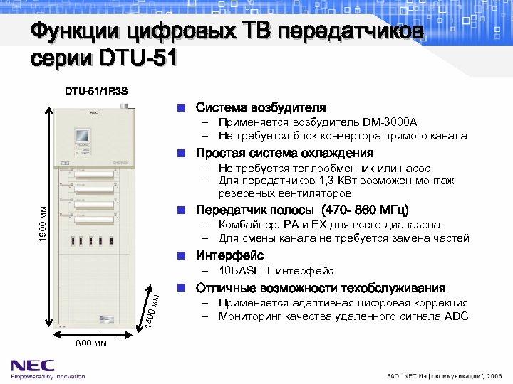 Функции цифровых ТВ передатчиков серии DTU-51/1 R 3 S n Система возбудителя – Применяется