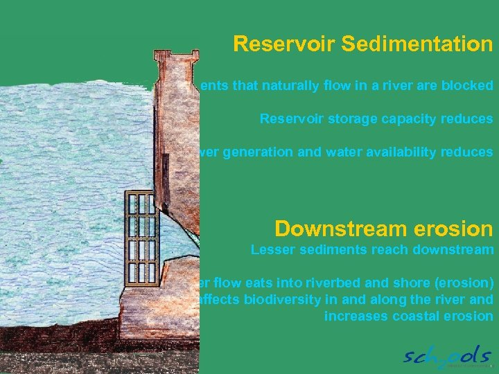 Reservoir Sedimentation Sediments that naturally flow in a river are blocked Reservoir storage capacity