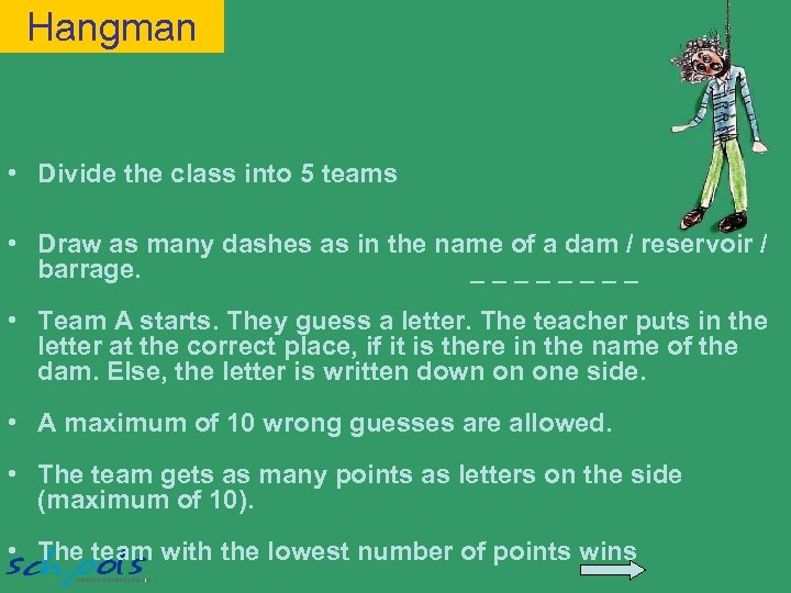 Hangman • Divide the class into 5 teams • Draw as many dashes as