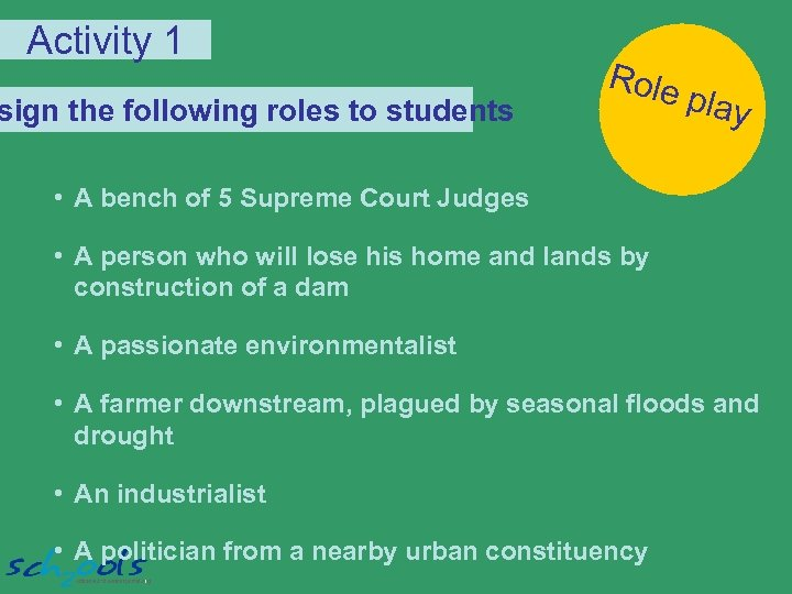 Activity 1 sign the following roles to students Role play • A bench of