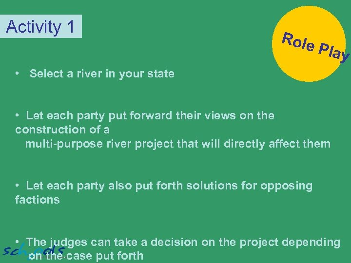 Activity 1 Role Play • Select a river in your state • Let each
