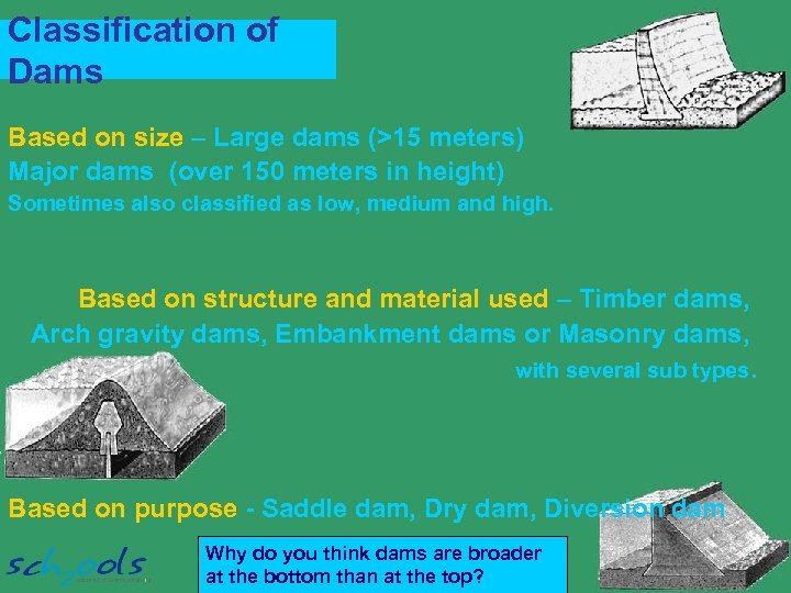 Classification of Dams Based on size – Large dams (>15 meters) Major dams (over
