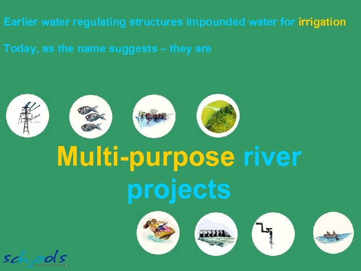 Earlier water regulating structures impounded water for irrigation Today, as the name suggests –