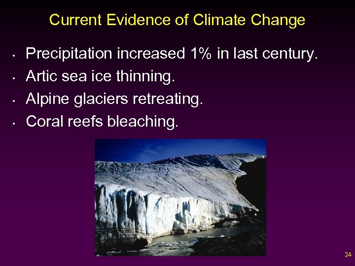 Current Evidence of Climate Change • • Precipitation increased 1% in last century. Artic